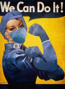 Ce poster de motivation anti-COVID-19 démontre la volonté de l'entreprise d'adopter des mesures sanitaires solides.